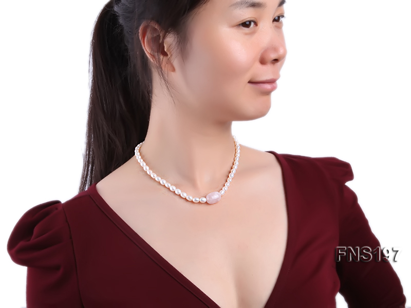 7-8mm natural white rice freshwater pearl with rose quartz single strand necklace big Image 5