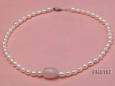 7-8mm natural white rice freshwater pearl with rose quartz single strand necklace FNS197 Image 1