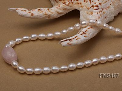 7-8mm natural white rice freshwater pearl with rose quartz single strand necklace FNS197 Image 2