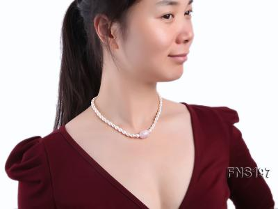7-8mm natural white rice freshwater pearl with rose quartz single strand necklace FNS197 Image 5