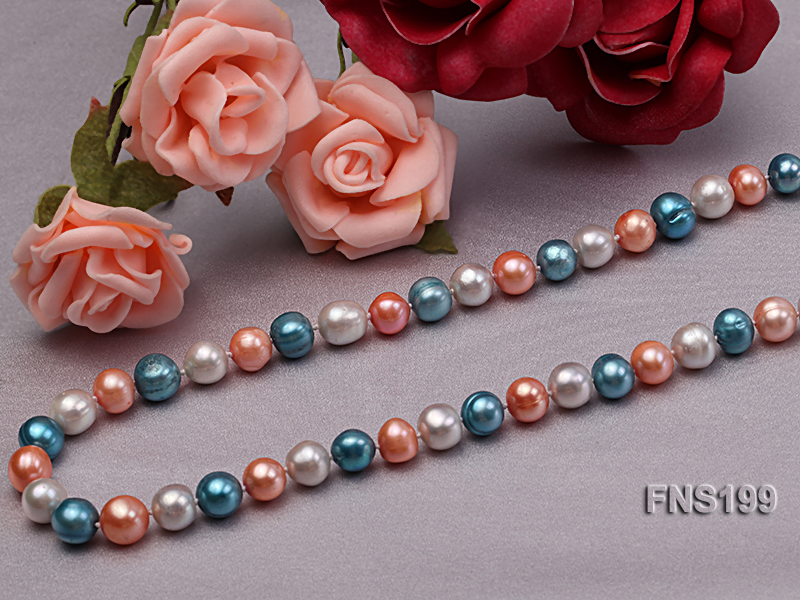 8-8.5mm Multicolor Round Freshwater Pearl Single Strand Necklace big Image 4