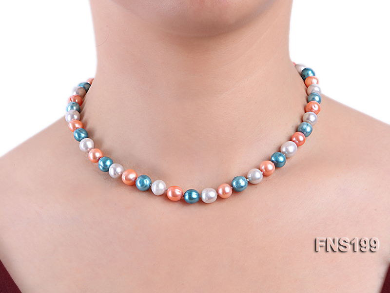 8-8.5mm Multicolor Round Freshwater Pearl Single Strand Necklace big Image 5