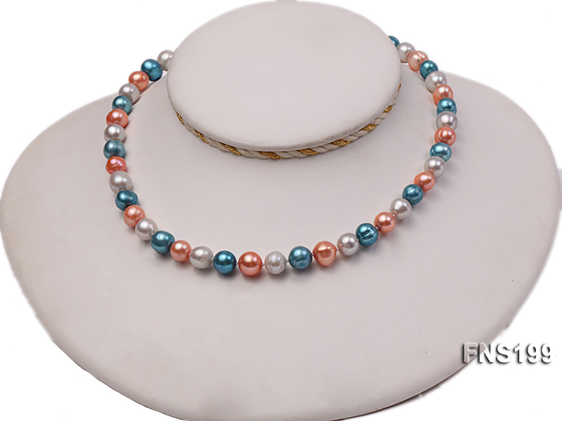 8-8.5mm Multicolor Round Freshwater Pearl Single Strand Necklace big Image 6