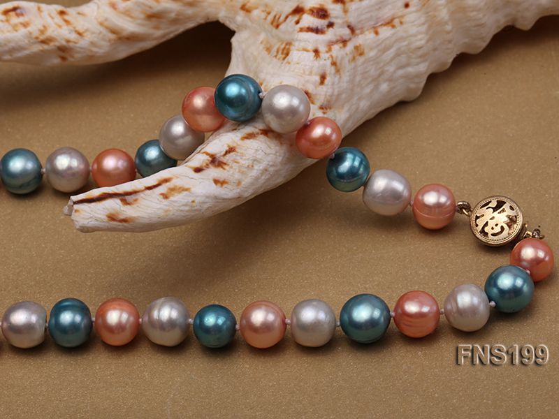 8-8.5mm Multicolor Round Freshwater Pearl Single Strand Necklace big Image 7