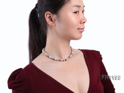 8-8.5mm Multicolor Round Freshwater Pearl Single Strand Necklace FNS199 Image 3