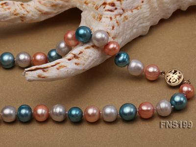 8-8.5mm Multicolor Round Freshwater Pearl Single Strand Necklace FNS199 Image 7