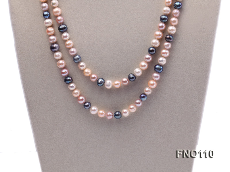 9-10mm multicolor round freash water pearl necklace big Image 2