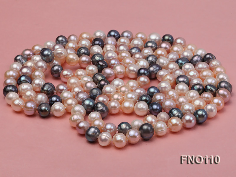9-10mm multicolor round freash water pearl necklace big Image 3