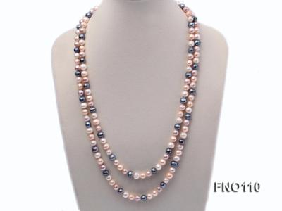 9-10mm multicolor round freash water pearl necklace FNO110 Image 1
