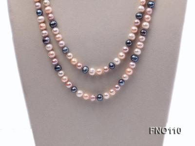 9-10mm multicolor round freash water pearl necklace FNO110 Image 2