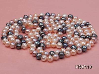 9-10mm multicolor round freash water pearl necklace FNO110 Image 3