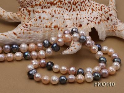 9-10mm multicolor round freash water pearl necklace FNO110 Image 4