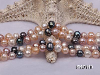 9-10mm multicolor round freash water pearl necklace FNO110 Image 5