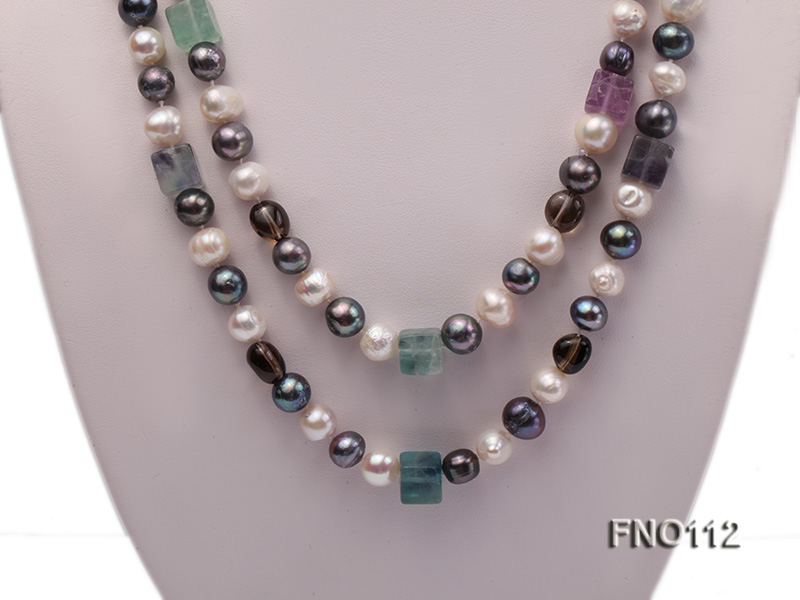 9-10mm white pink lavender and black round freshwater pearl opera necklace big Image 2