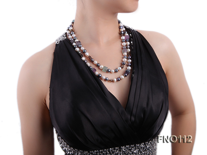 9-10mm white pink lavender and black round freshwater pearl opera necklace big Image 7
