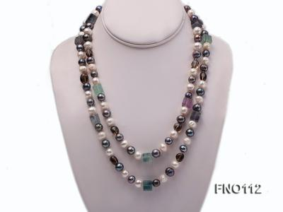 9-10mm white pink lavender and black round freshwater pearl opera necklace FNO112 Image 1