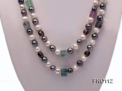9-10mm white pink lavender and black round freshwater pearl opera necklace FNO112 Image 2