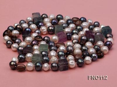 9-10mm white pink lavender and black round freshwater pearl opera necklace FNO112 Image 3