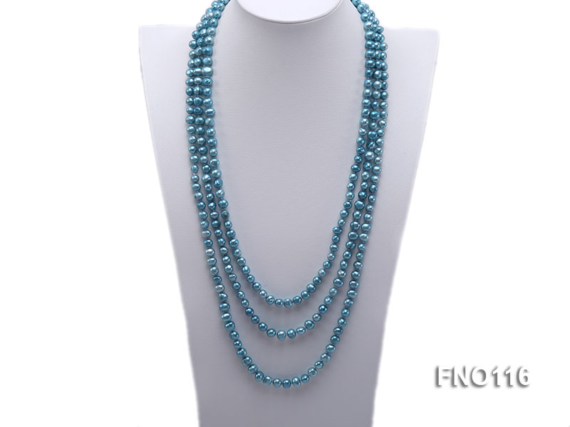 7-8mm blue flat freshwater pearl necklace big Image 1