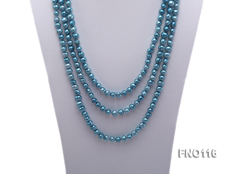 7-8mm blue flat freshwater pearl necklace big Image 2