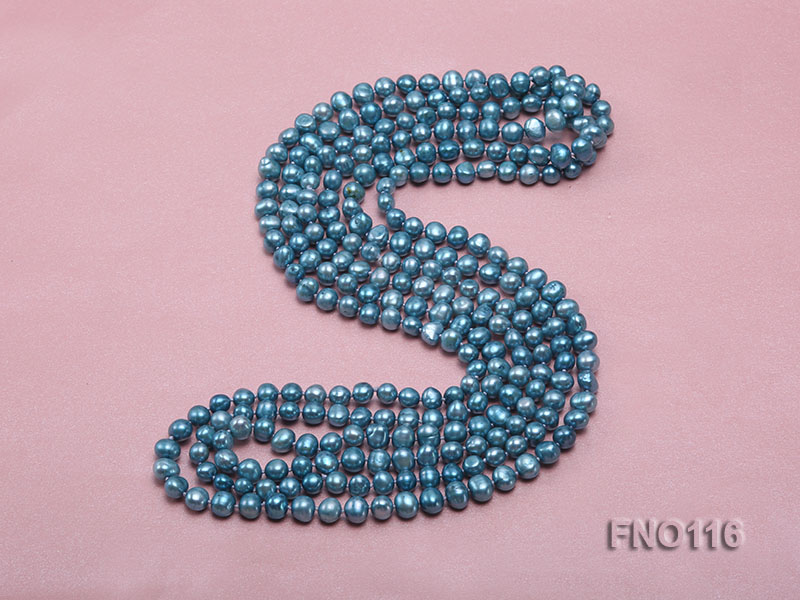 7-8mm blue flat freshwater pearl necklace big Image 4