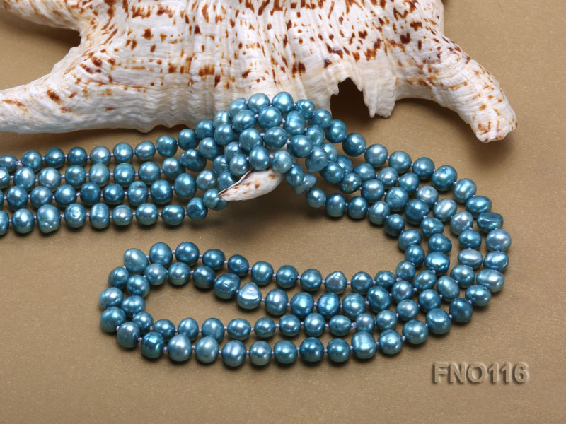 7-8mm blue flat freshwater pearl necklace big Image 5