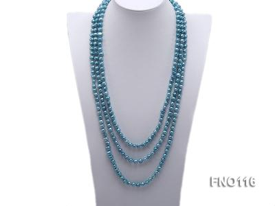 7-8mm blue flat freshwater pearl necklace FNO116 Image 1