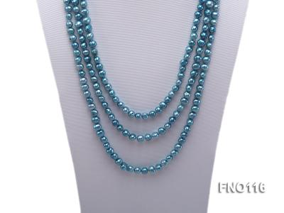 7-8mm blue flat freshwater pearl necklace FNO116 Image 2