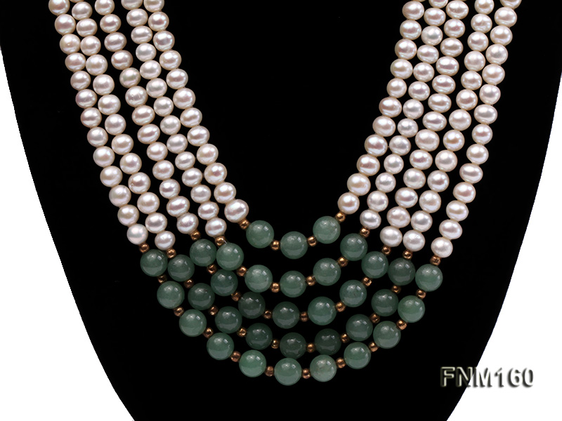 5 strand white freshwater pearl and jade necklace big Image 2