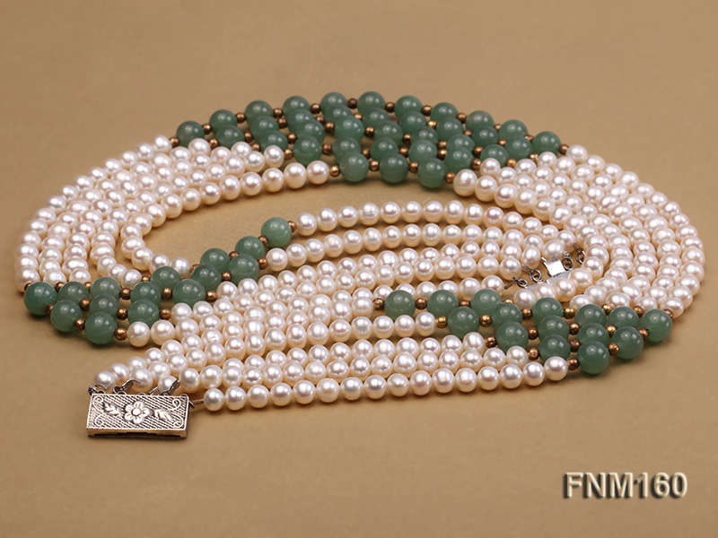 5 strand white freshwater pearl and jade necklace big Image 3