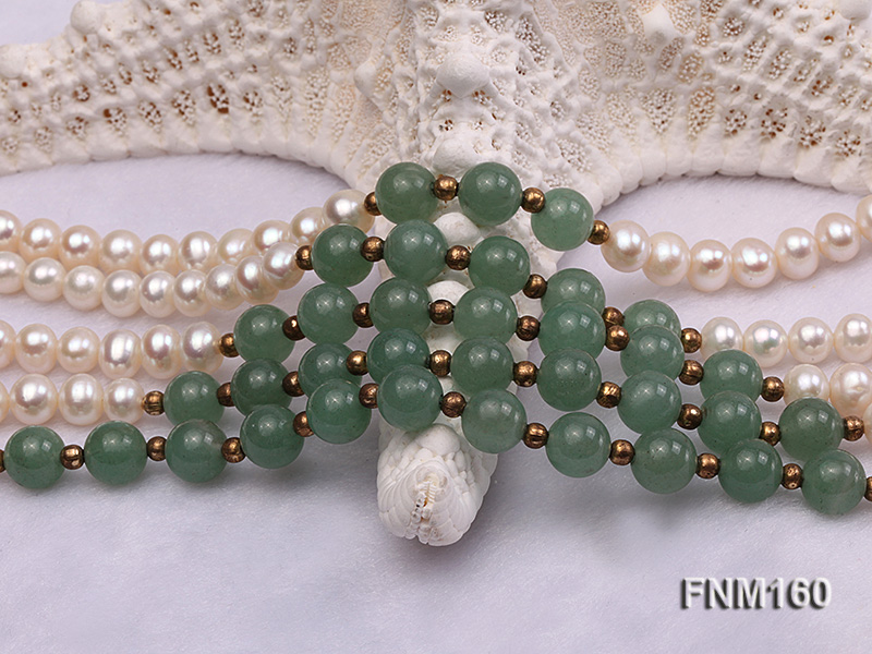 5 strand white freshwater pearl and jade necklace big Image 4