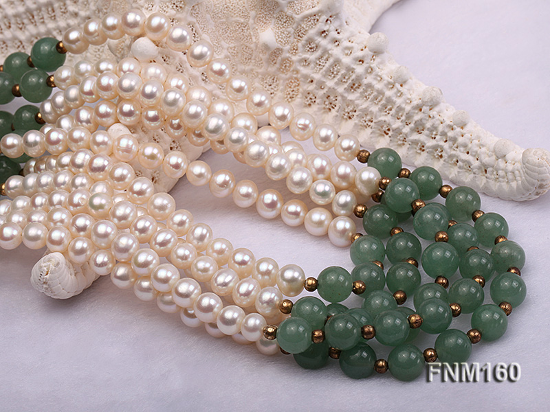 5 strand white freshwater pearl and jade necklace big Image 5