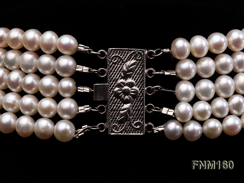 5 strand white freshwater pearl and jade necklace big Image 6