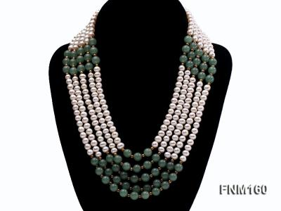 5 strand white freshwater pearl and jade necklace FNM160 Image 1