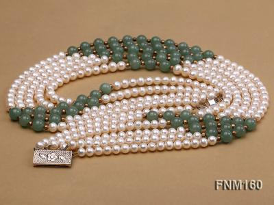 5 strand white freshwater pearl and jade necklace FNM160 Image 3