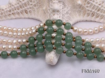5 strand white freshwater pearl and jade necklace FNM160 Image 4