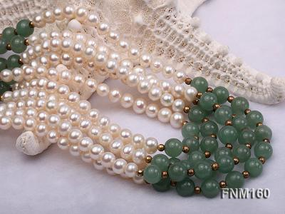 5 strand white freshwater pearl and jade necklace FNM160 Image 5