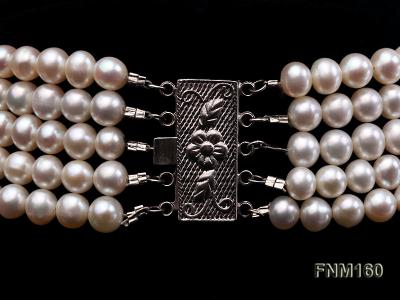 5 strand white freshwater pearl and jade necklace FNM160 Image 6
