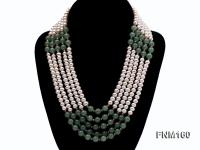5 strand white freshwater pearl and jade necklace FNM160