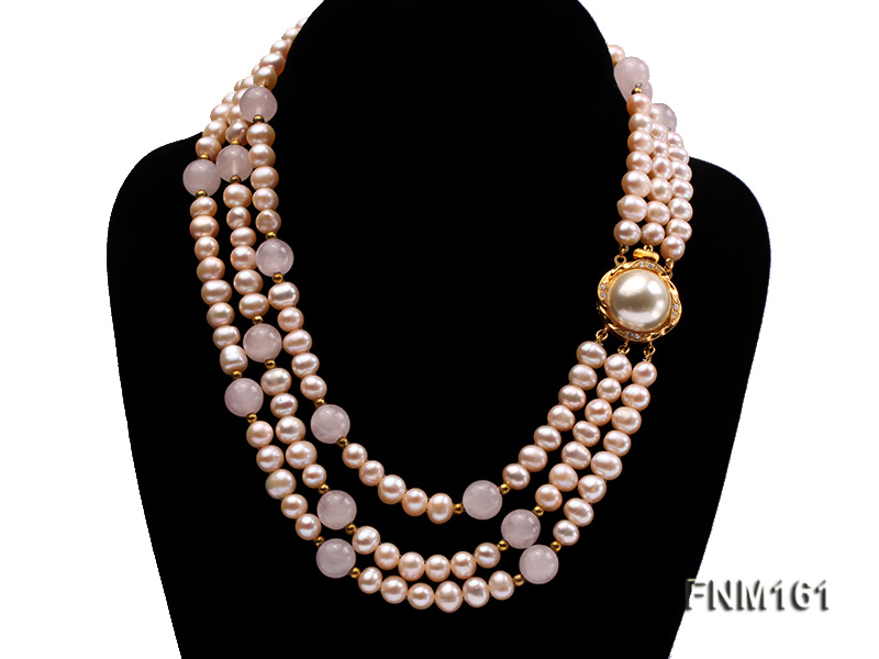 3 Strands Pink Round Freshwater Pearl with Rose Quartz Necklace big Image 1