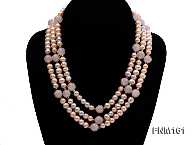 3 Strands Pink Round Freshwater Pearl with Rose Quartz Necklace big Image 2