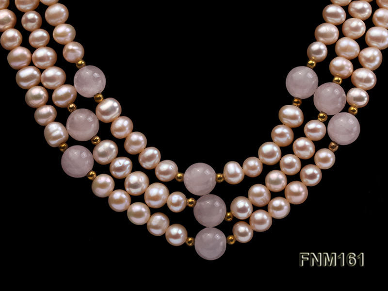 3 Strands Pink Round Freshwater Pearl with Rose Quartz Necklace big Image 3