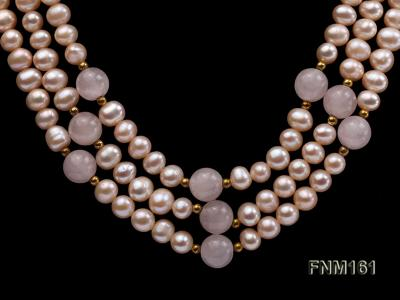 3 Strands Pink Round Freshwater Pearl with Rose Quartz Necklace FNM161 Image 3