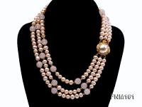 3 Strands Pink Round Freshwater Pearl with Rose Quartz Necklace FNM161