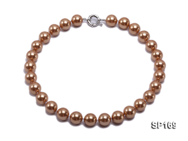 14mm coffee round seashell pearl necklace big Image 1