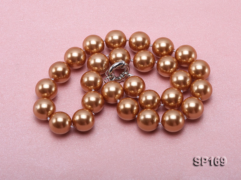 14mm coffee round seashell pearl necklace big Image 3