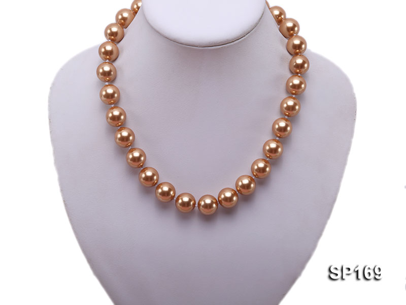 14mm coffee round seashell pearl necklace big Image 5