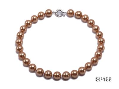 14mm coffee round seashell pearl necklace SP169 Image 1