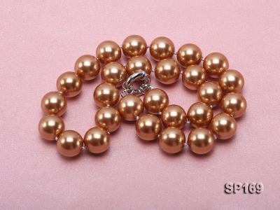 14mm coffee round seashell pearl necklace SP169 Image 3