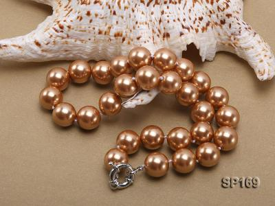 14mm coffee round seashell pearl necklace SP169 Image 4